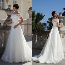 White/ivory Lace Wedding Dresses Bridal Dress Gown Size 4 6 8 10 12 14 16 18+