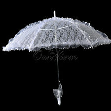 Beautiful Lace Org Parasol Umbrella Hand Fan For Bridal Wedding Decoration White