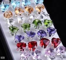 Wholesale Lots 40pcs Heart Rhinestone Crystal Silver Ear Stud Earring 6mm 8mm