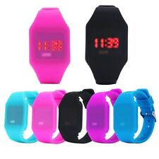 Mens Womens Silicone Jewelry Gel LED Digital Watches Sports Bracelet Wrist Watch