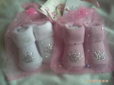 Baby Girl's Pink Or White Socks With Diamente Pattern Size 0-6 Months.