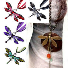 Fashion Woman Enamel Rhinestone Inlay Dragonfly Charms Pendant Necklace Gift