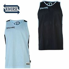 Spalding Mens Reversible Shirt Basketball Sleeveless Sports Round Neck Tops