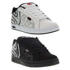 Etnies Metal Mulisha Fader Mens Black White Leather Skate Shoes Size UK 7-14