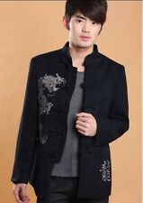Chinese Men's Dragon Kung Fu  Jacket/Coat Party Dark blue Size: S M L XL XXL