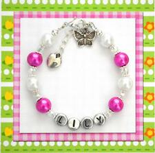 Personalized Girl's Bracelet Butterfly Charm Hand Made Gift Any Color or Name