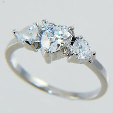 1.15CTW HEART BRILLIANT THREE STONES ENGAGEMENT WEDDING RING size #6,7,8,9