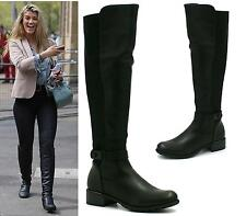Womens Knee High Flat Low Heel Wide Fit Stretch Biker Riding Leather Style Boots