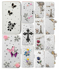 Fashion Deluxe Bling Crystal Diamonds Wallet PU Leather Case Cover For Samsung