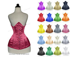 22 Double Steel Boned Waist Training Satin Underbust Shaper Corset #8422B-SA