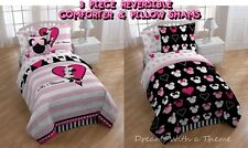 MINNIE MOUSE Love Pink Black REVERSIBLE 3pc Full Size Comforter+Pillow Shams Set