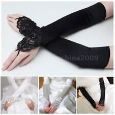 "17"" Fingerless Gloves Bridal Long Satin Lace Beaded Wedding Accessories NEW 8NI6"