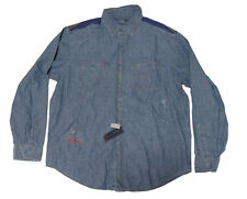 Polo Ralph Lauren Mens Indigo Patchwork Denim Chambray Washed RL Polo Shirt