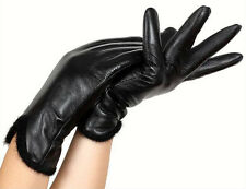 Women's Genuine Leather LAMBSKIN Black Winter Warm Gloves Driver Trend Lines