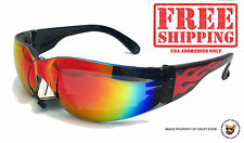 GLOBAL RIDER PLUS FOAM SUNGLASSES WITH FLAMES AND G-TECH LENS BIKER GLASSES