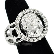 MENS GOD JESUS CHRIST FACE CHRISTIAN CHURCH SILVER PLATED RING SIZE 8 - 13 N013S