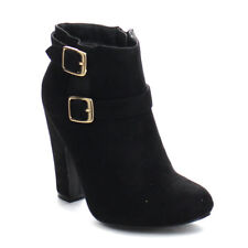 PAZZLE GA47 Women Stylish Double Ankle Strap Zipper Chunky Costume Ankle Booties