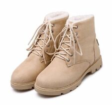 womens flat faux suede lace up warm snow winter shoes round toe ankle boots B423