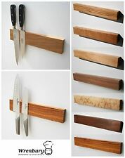 "Wrenbury 12"", 15"" or 18"" Solid Wood Oak Walnut Maple Magnetic Knife Rack Strip"