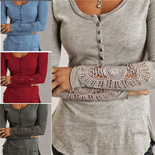 Ladies Women Sexy Long Sleeve Shirt Casual T-Shirt Lace Blouse Loose Cotton Tops