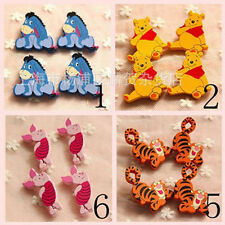 Disney Winnie The Pooh Funny Wooden Badges Brooches Pins Kids Costume Xmas Gift