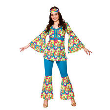 Ladies Womens Funky Hippy Chick Costume for 60s 70s Fancy Dress Outfit