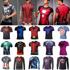 Superhero Short Long Sleeve Cycling T-Shirts Gym Sport Bicycle Jersey Men Shirt