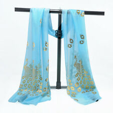 Embroidered Lace Flower Peacock Women Scarf Long Soft Wrap Shawl Stole Pashmina