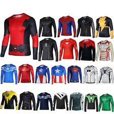 Superhero Marvel Costume Cycling T-Shirts Long Sleeve Sports Bicycle Jersey NEW