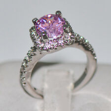 Sweet Pink Sapphire 5.8/Czrat Gem Engagement Ring 10kt White Gold Filled Jewelry