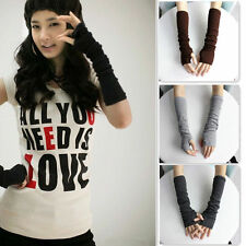 Hot Women Winter Wrist Arm Hand Warmer Knitted Long Fingerless Gloves Mittens V