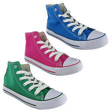 Canvas Hi-Top Casual Pumps Womens Lace Up Trainers Plimsolls Shoes UK3-9