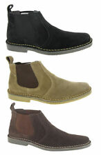 New Men Desert Ankle Boots Suede Leather Chelsea Dealer Taupe Black Size 6-12