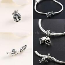 Crown Bells Pendant CHARM Sterling Silver .925 Fit European Bracelet Chain D2F1