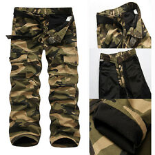 Hot Mens Warm Combat Fleece Camo Cargo Pants Army Work Trousers Winter Pants