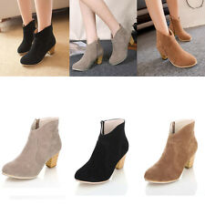 Fashion Women's Chunky Heel Leather Combat Boots Casual Martin Boots Board Shoes