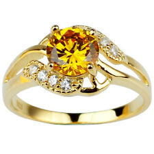 Gold Plated 925 Sterling Silver Ring for Women 7mm Round Yellow CZ Jewelry