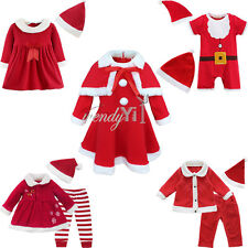 Baby Boy Girls Christmas Party Santa Claus Costume Dress Romper Top Pants Outfit