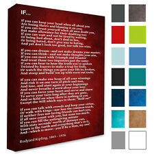 Rudyard Kipling Wall Decor Picture IF POEM Deep Red Wall Canvas Print A3/A4