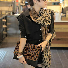Noble Fashion Women's Long Soft Wrap Lady Shawl Silk Leopard Chiffon Scarf Shawl