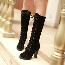 New Womens Mid Calf Lace Up Boots Block High Heels Military Combat Boots Air-89