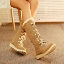 Womens Sweet Fur Furry Lace Up Winter Warm Snow Knee High Boots Plus Sizes Air07