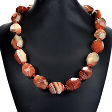 Faceted Natural Dragon's Vein Agate Necklace Handmade Statement Jewellery UK