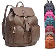 LADIES ZIP FAUX LEATHER RUCKSACK RETRO BACKPACK SCHOOL FASHION SHOULDER BAG