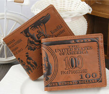 Unique Cowboy Mens Leather Dollar Bifold Wallet Credit/ID Card Holder Coin Purse