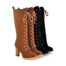 Womens Mid Calf Lace Up Boots Block High Heels Military Combat Boots Plus Size