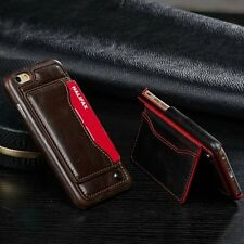 Slim Luxury Leather Case Card Holder Stand Back Cover For iPhone/Samsung Galaxy