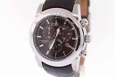 Men's Citizen AT0550-11X Eco-Drive Brown Chronograph Brown Leather Strap Watch