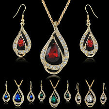 Banquet Party Jewelry Set Waterdrop Crystal Stone Earrings Pendant Necklace