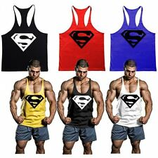 Sleeveless Men Tank Tops Stringer Gym Bodybuilding Superman Fittness Vest Shirts